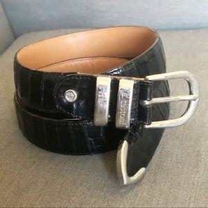 A. TESTONI Crocodile Leather Brass Tipped Belt